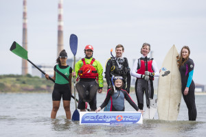 Tuesday 16th June 2015, Dublin: As an average of 11 people drown in Ireland every month, an appeal as part of Water Safety Awareness Week to promote learning from registered training providers BEFORE engaging in aquatic pursuits.  Various national bodies have combined forces to provide course details from a single website - www.safetyzone.ie - as the best way to enjoy Irish waters safely. Pictured at the launch on Sandymount Strand (l/r):  Pia Dolan (Rowing); Benny Cullen (Canoeing); Chris Ross-Innes (Scuba Diving); Kate Fitzpatrick (Snorkler); Joan Sheffield (Sailing); and Aideen Hillery (Surfing). Photograph: David Branigan/Oceansport