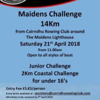 Cairndhu Rowing Club – 21st April 2018 Challenge